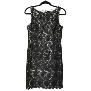Ann Taylor Lace Over Shift Dress Black 10P